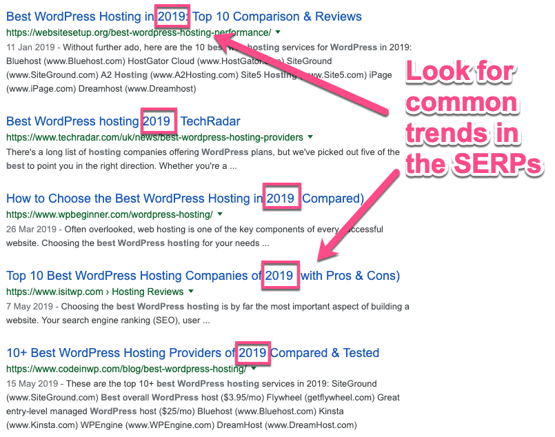 Common trends in SERPs