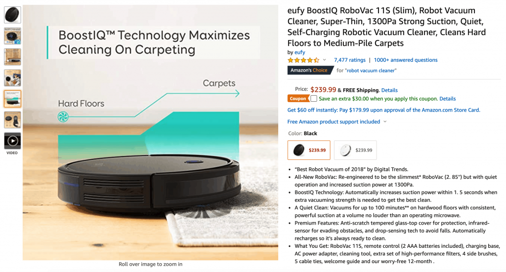 Amazon.com screen capture with a robot vacuum product page presenting the product image