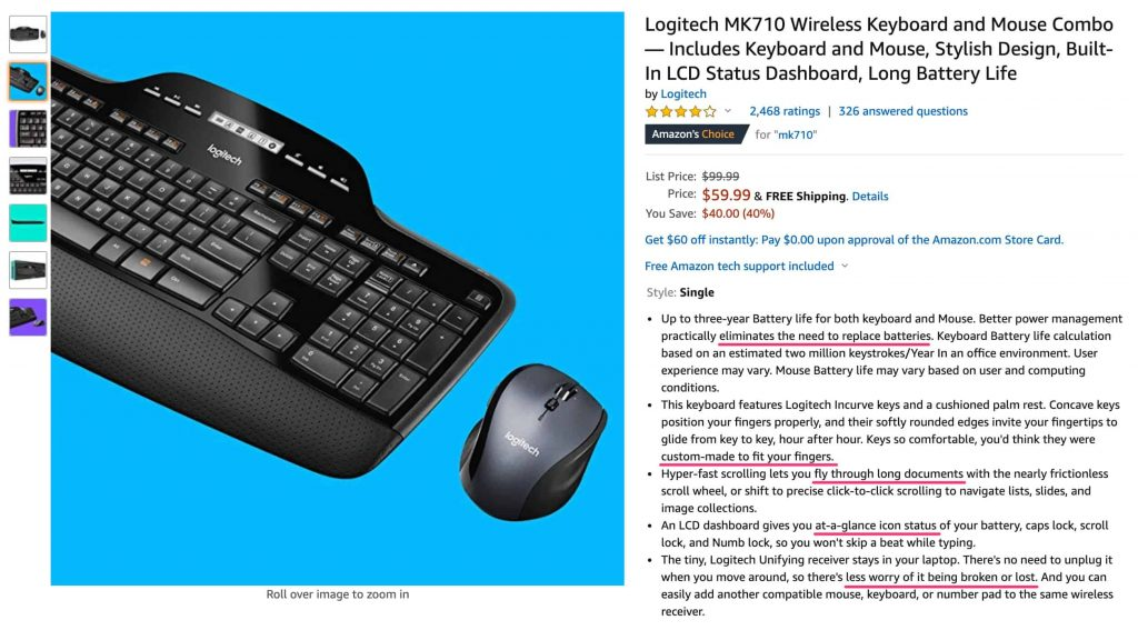 Amazon.com screen capture with a keyboard and mouse product page highlighting the benefits in the product bullet points
