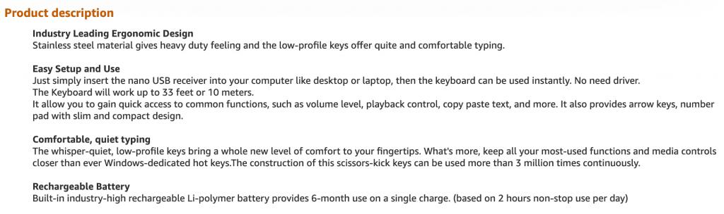 Amazon.com screen capture showing the product description
