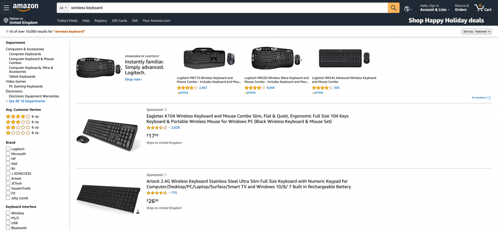 Amazon.com screen capture with search results