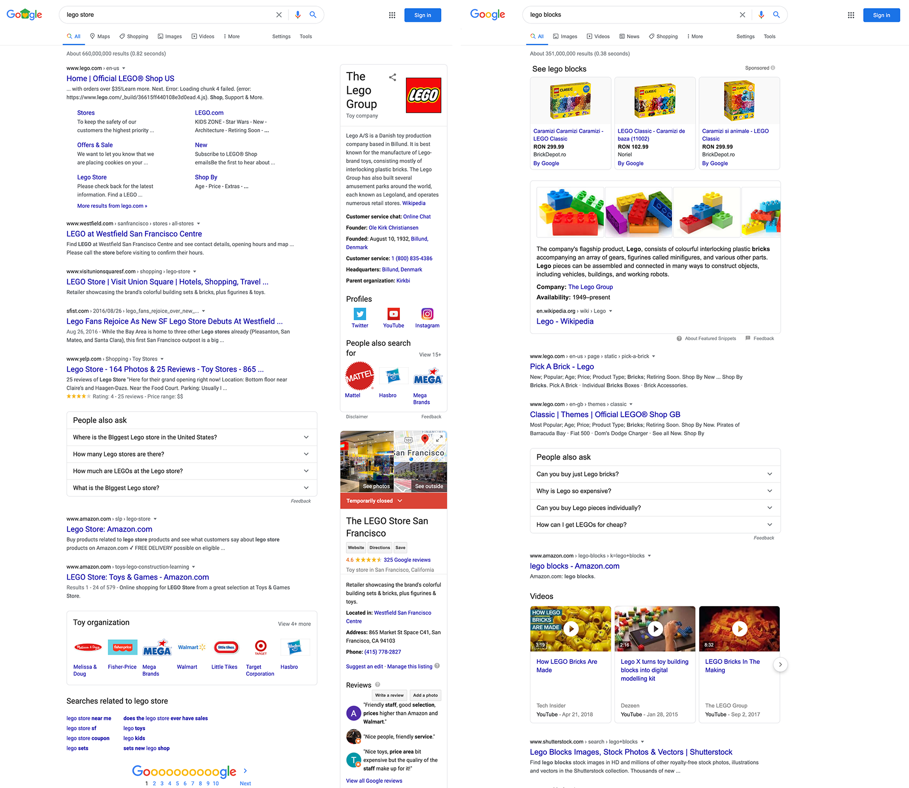 "Side by side SERP screenshots with SERP features triggered by ""lego store"" and ""lego blocks"" searches."