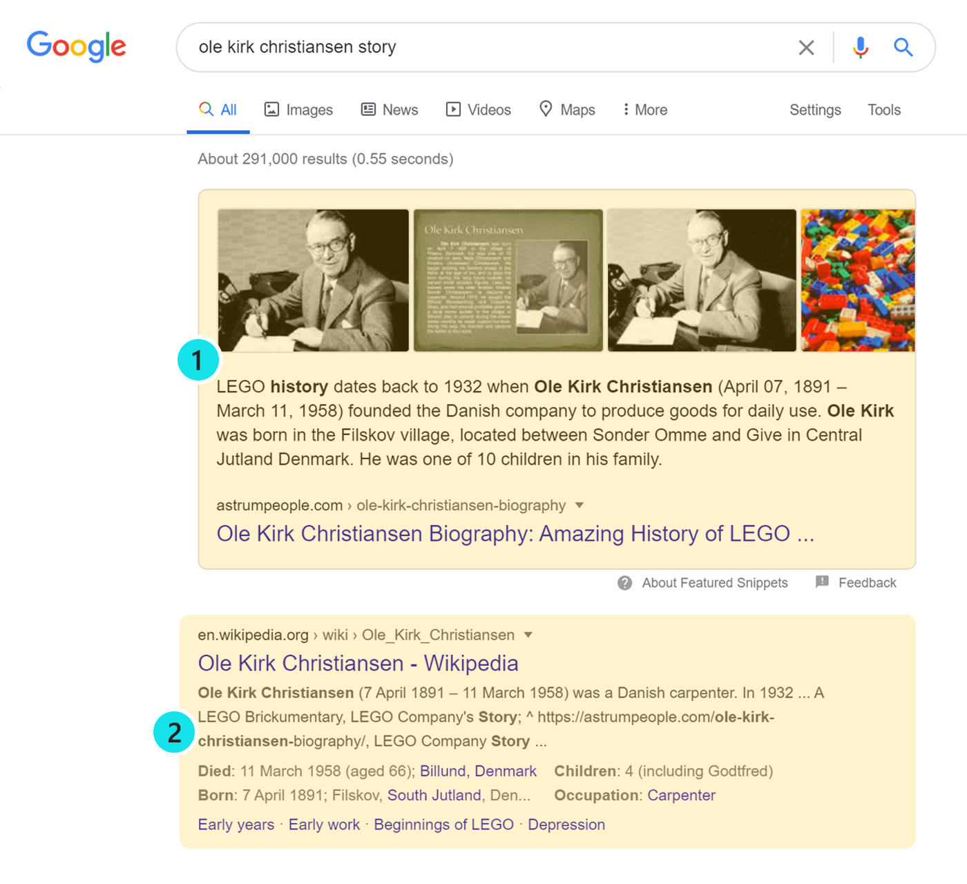 SERP screenshot highlighting position one for the Featured Snippet result.