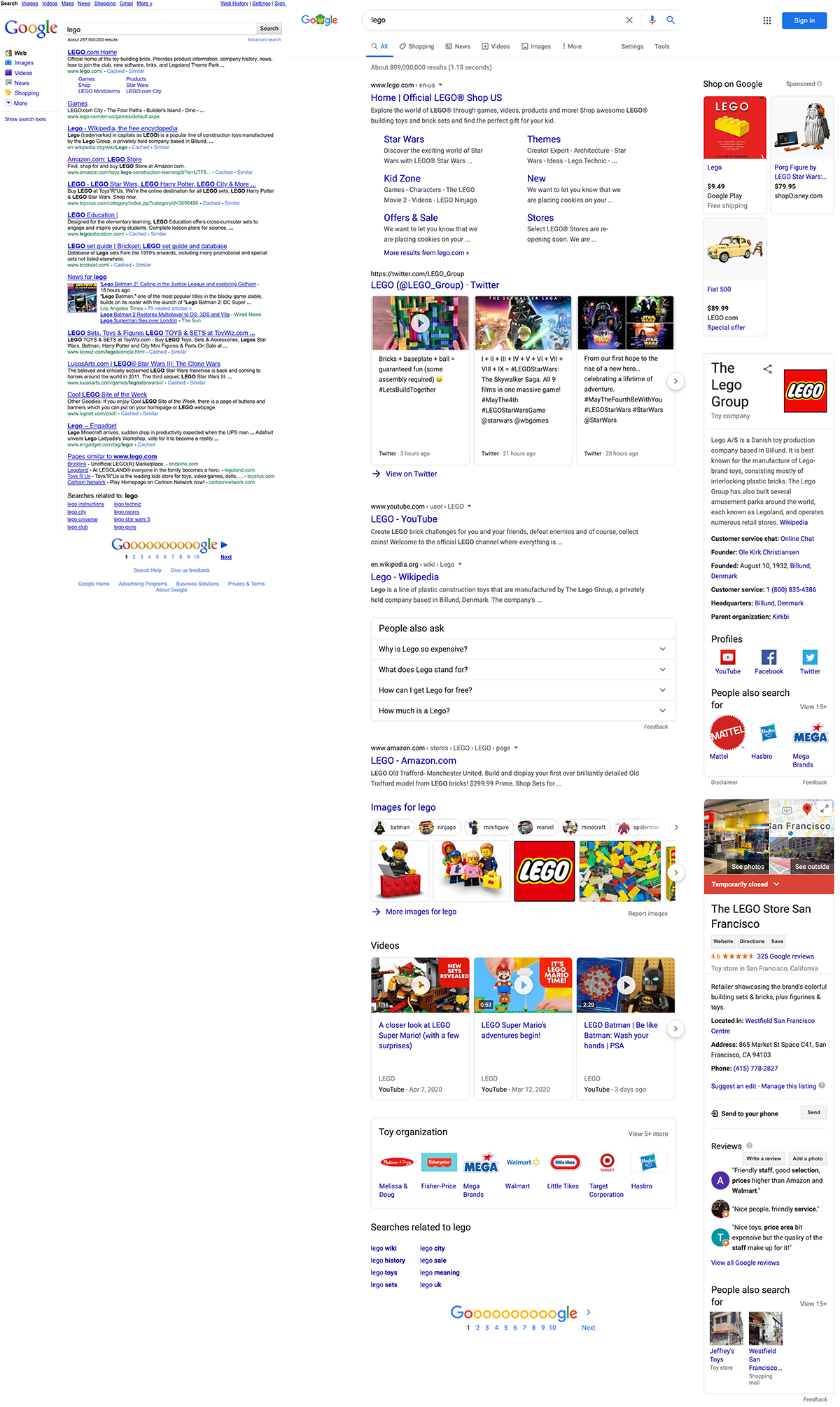 "Side by side SERP screenshots showcasing the SERP variation over time for the ""lego"" query in 2012 and 2020."