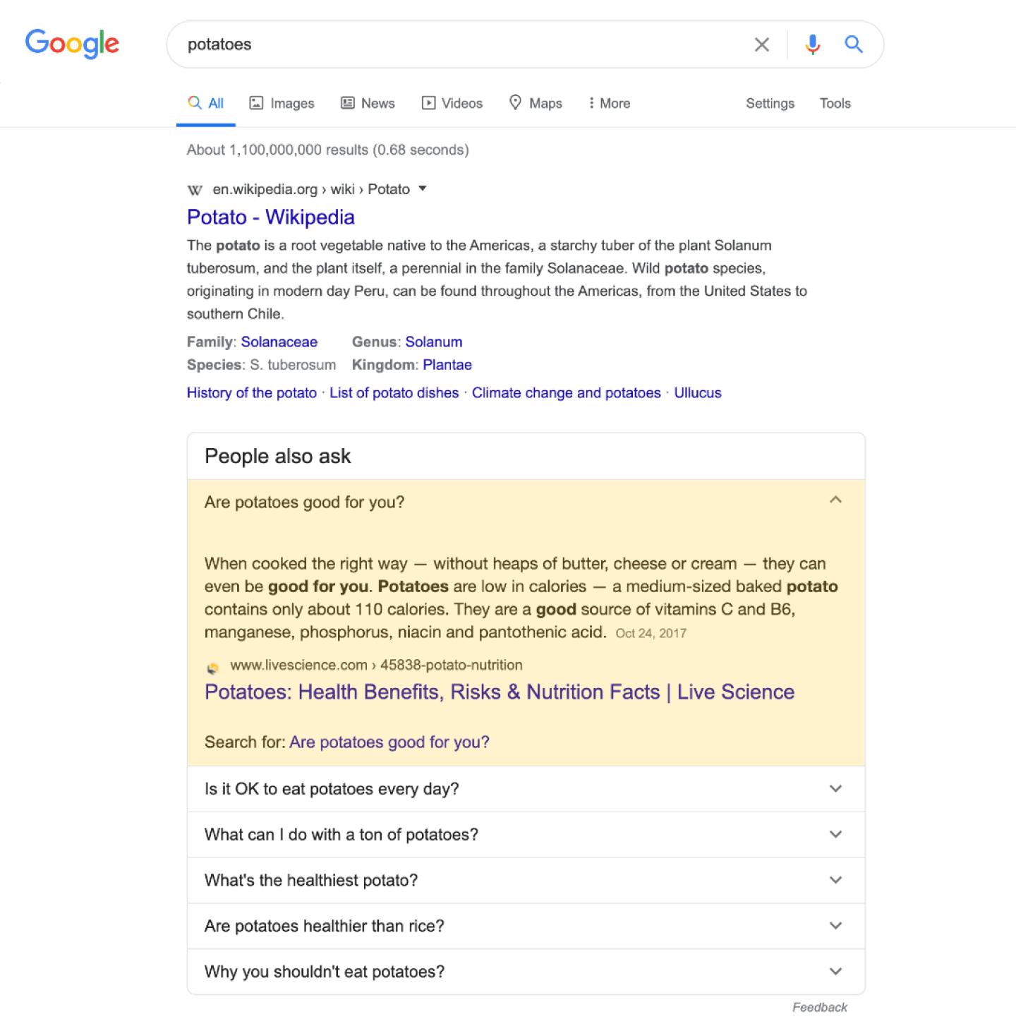 Screenshot with People Also Ask results in Google highlighting showing how extra questions are added when clicking on a result.