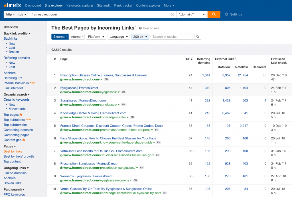 Screenshot with keywords ideas from Ahrefs' Keyword explorer tool.