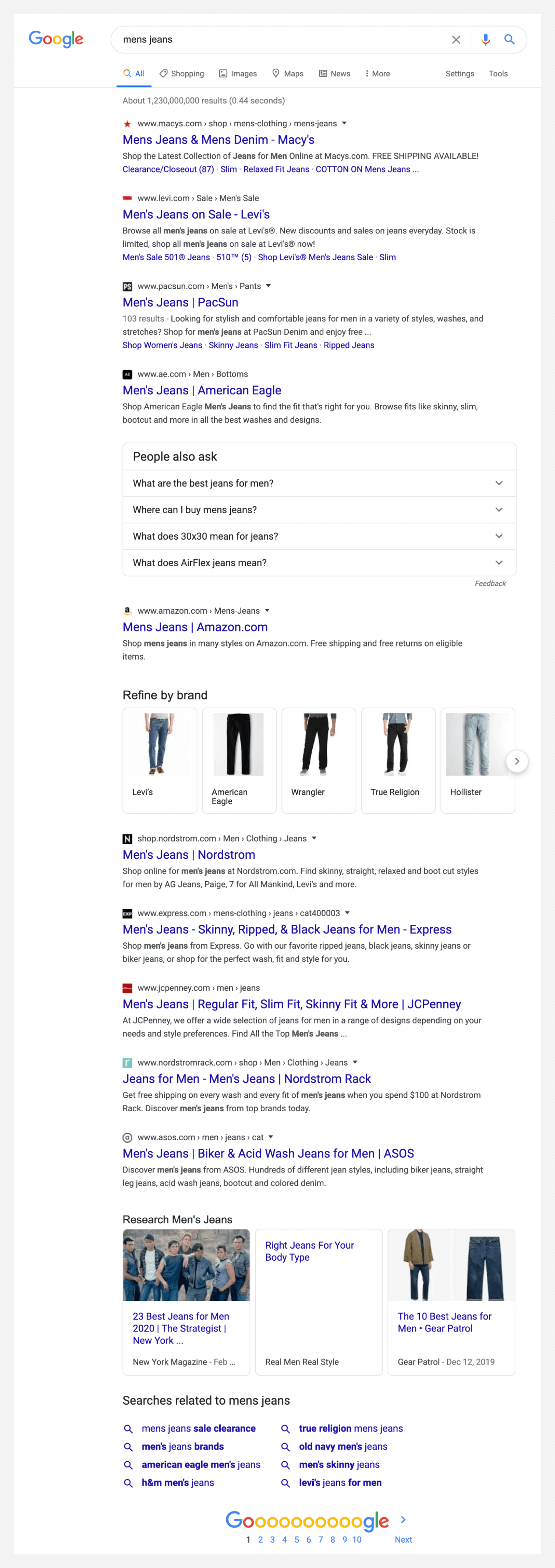 Search engine result page for mens jeans.