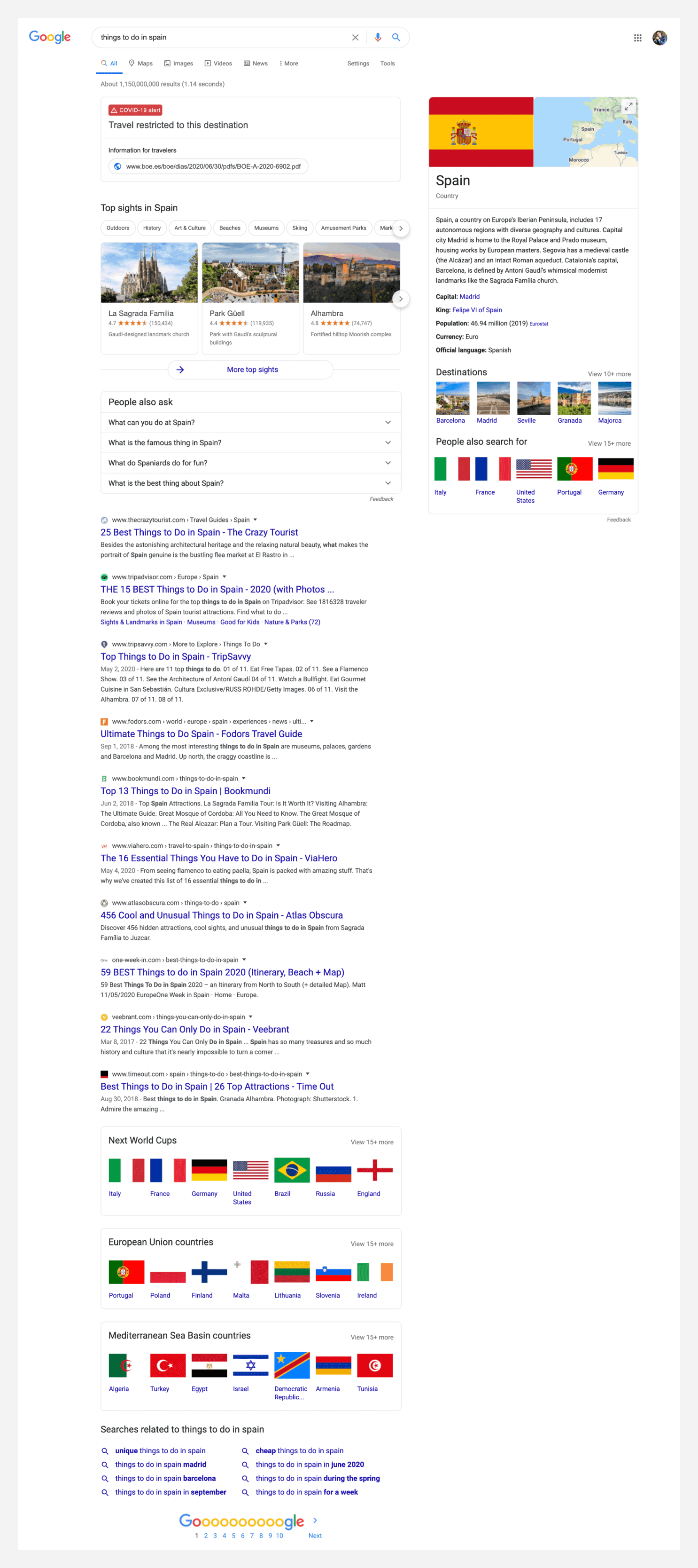 Search engine result page for things to do in spain.