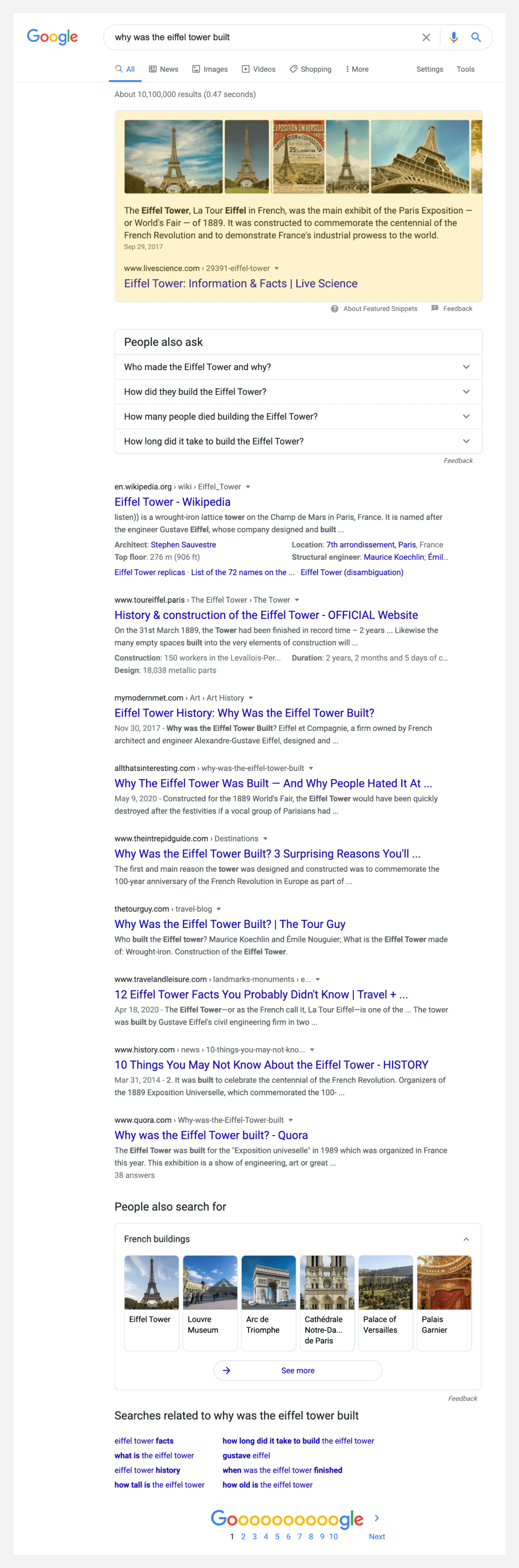 Screenshot of a search result for why was the eiffel tower built.