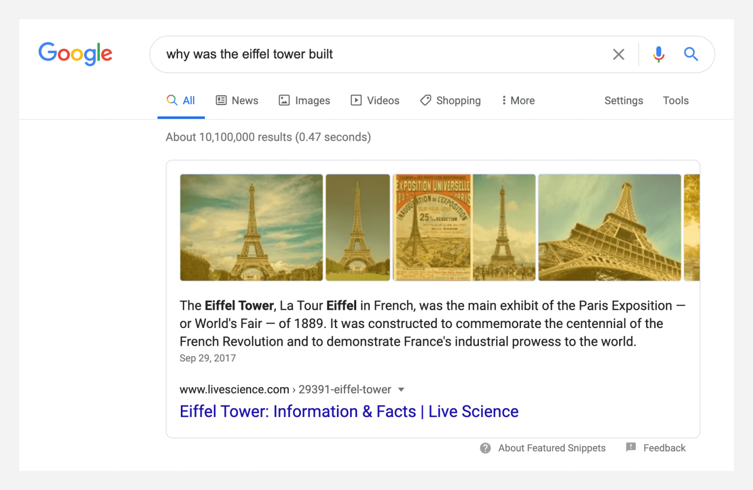 SERP screenshot with the images from the featured snippet highlighted.