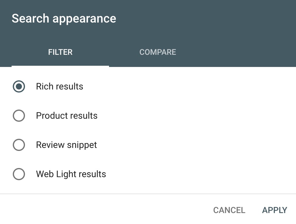 Google Search Console screenshot with Rich results filter.
