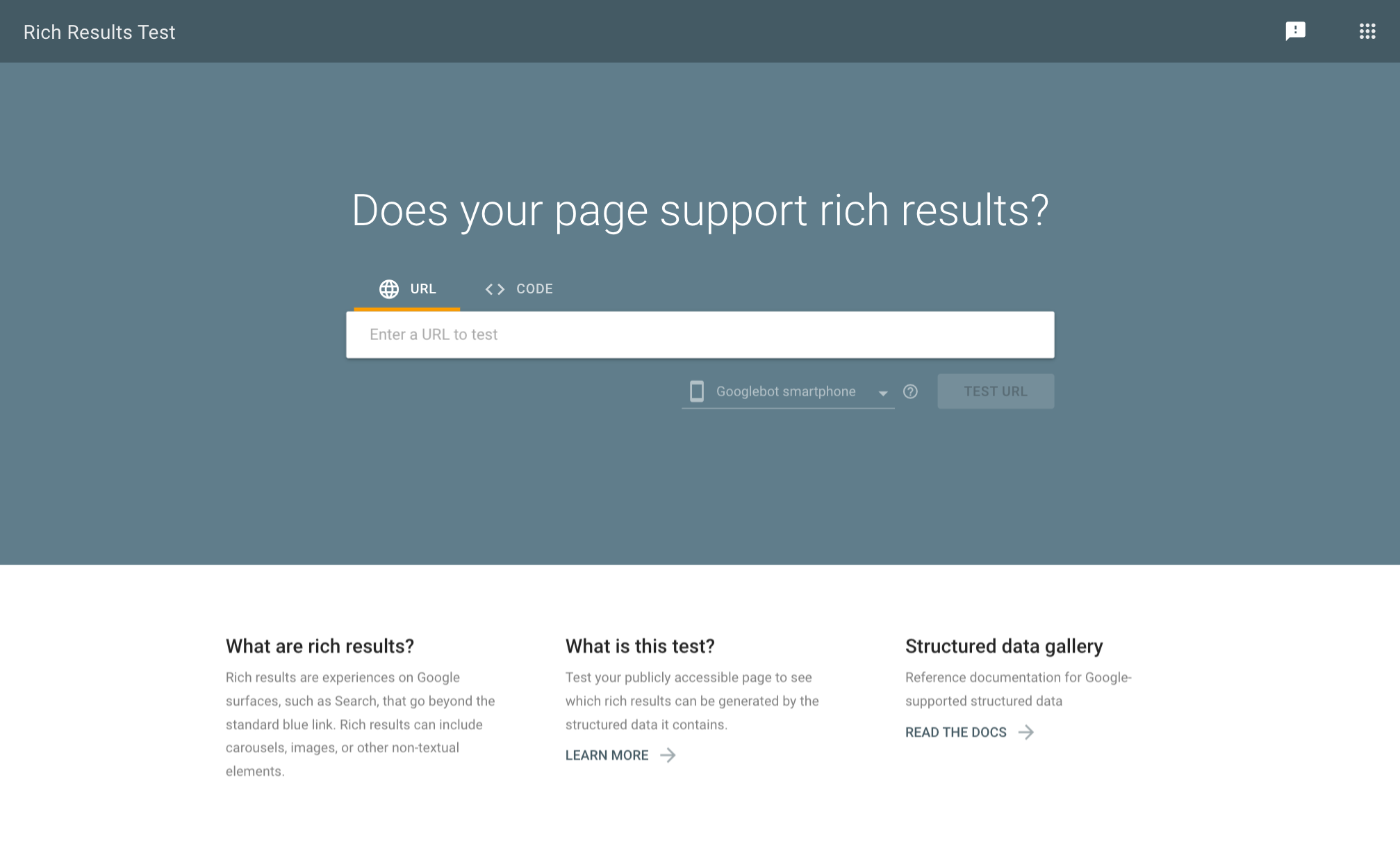 Rich Snippet testing tool screenshot.