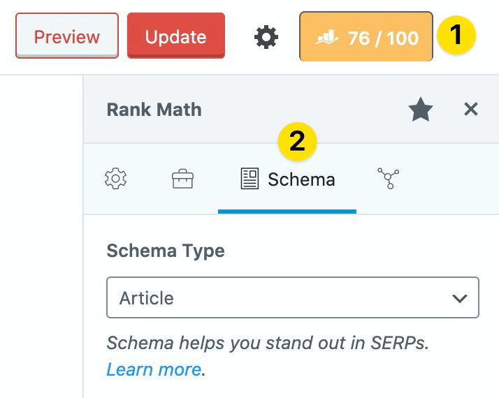 Rank Math screenshot showing schema type for an article.
