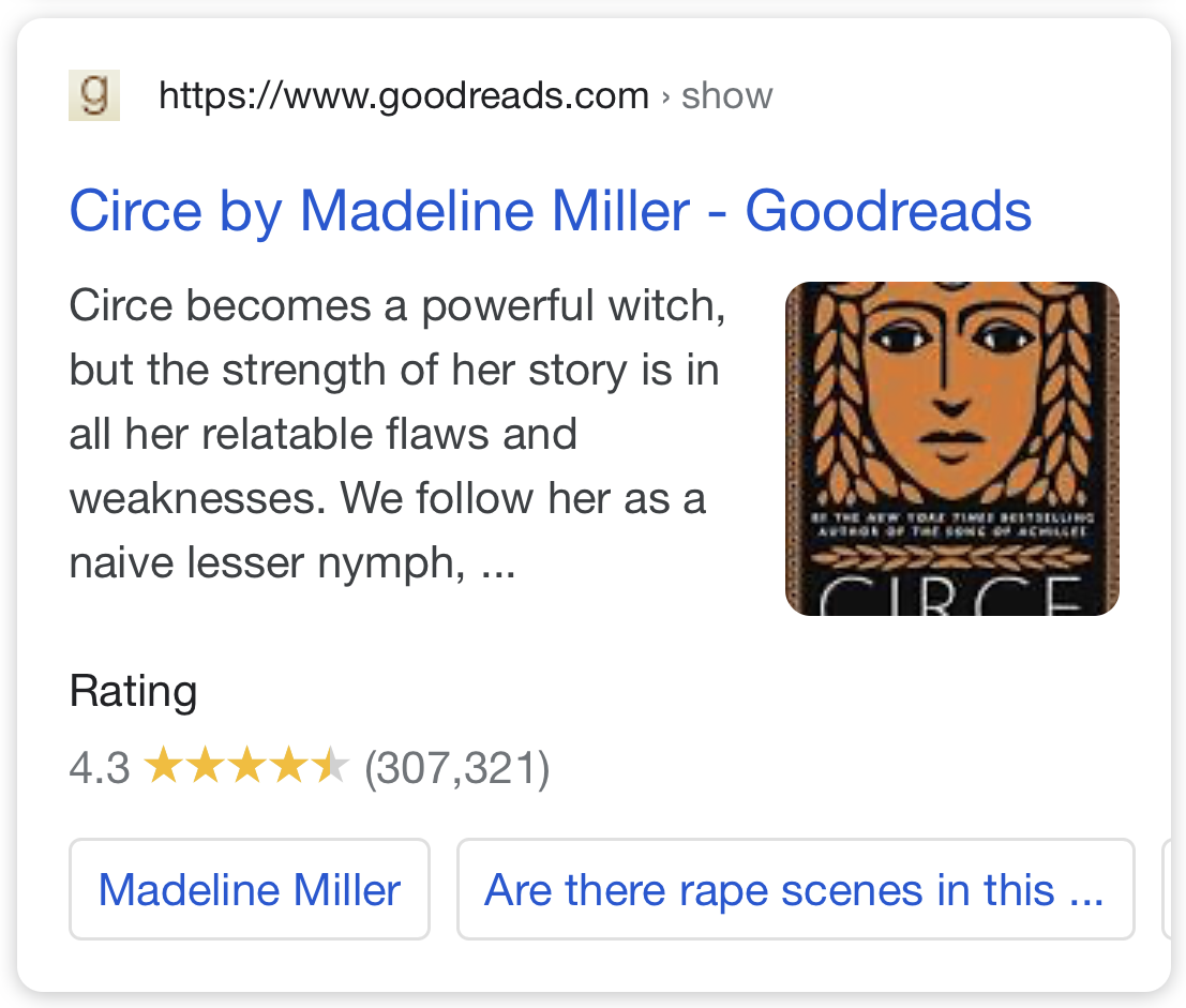 Ratings and Reviews Rich Snippet in SERP.