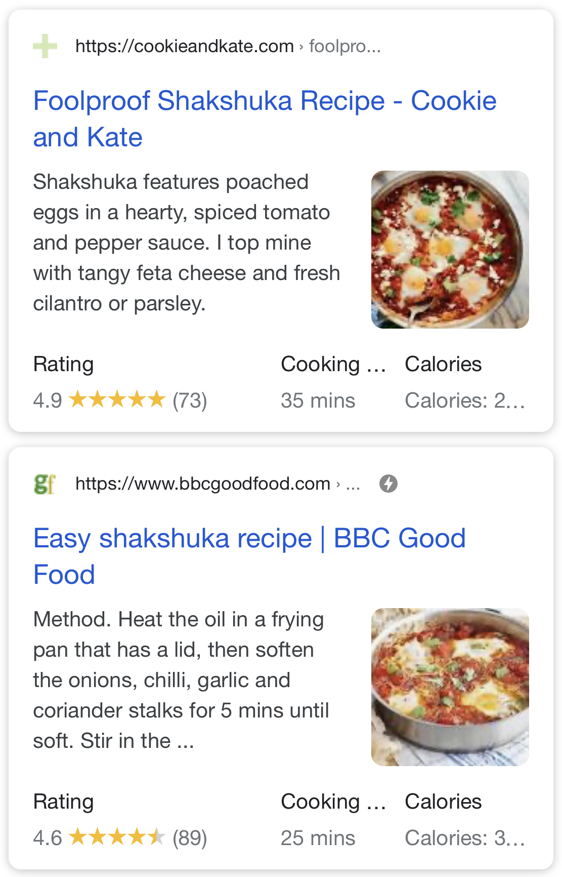 Recipes Rich Snippets in SERP.