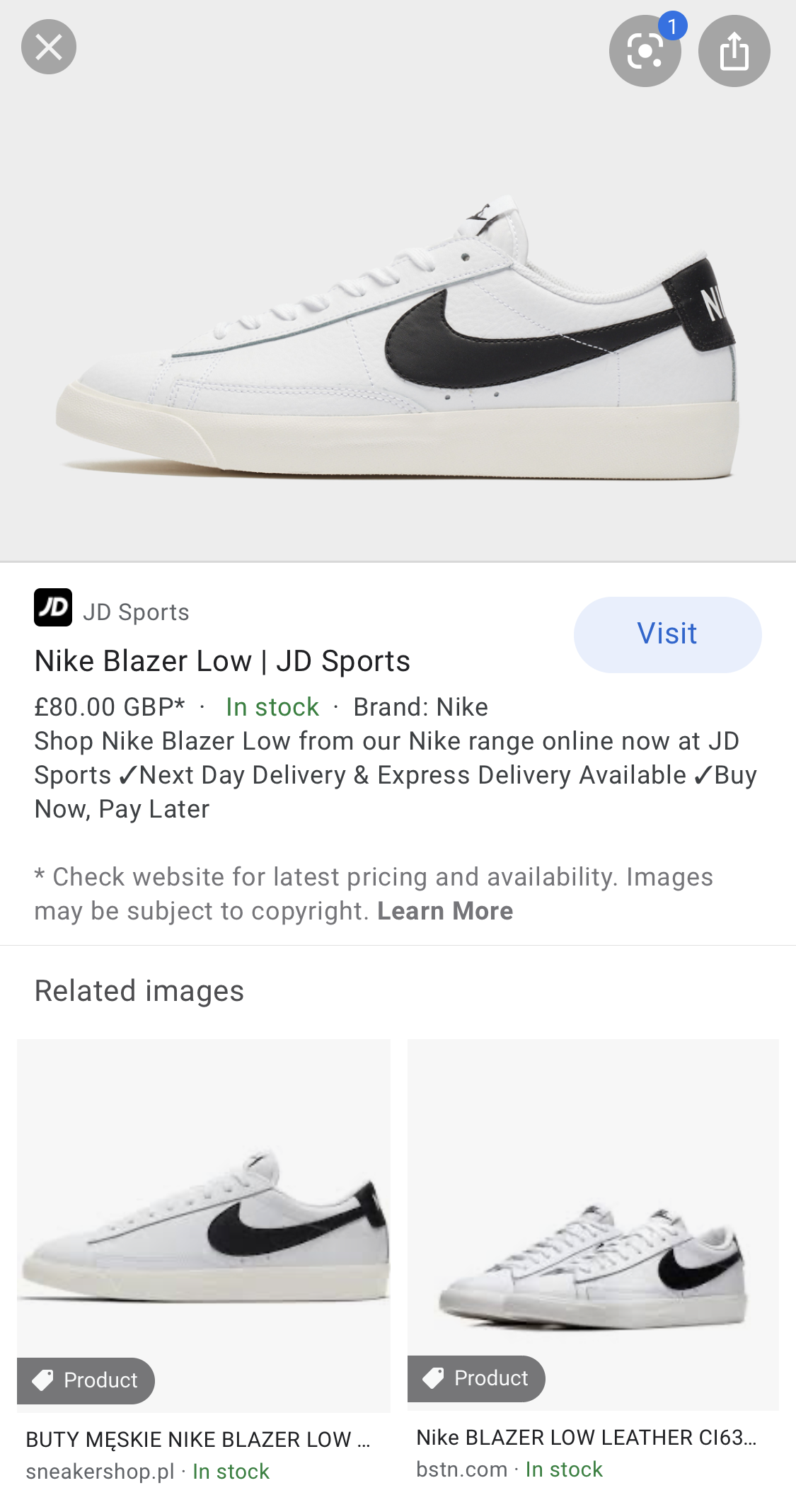 Google Images result for Products Rich Snippet.