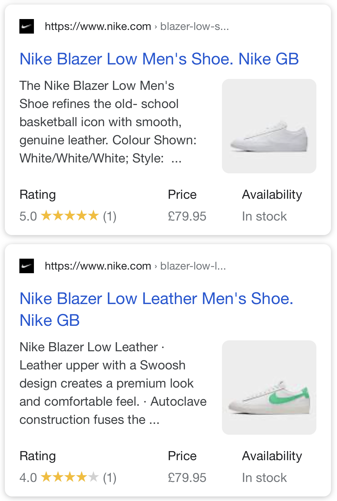Products Rich Snippets in SERP.