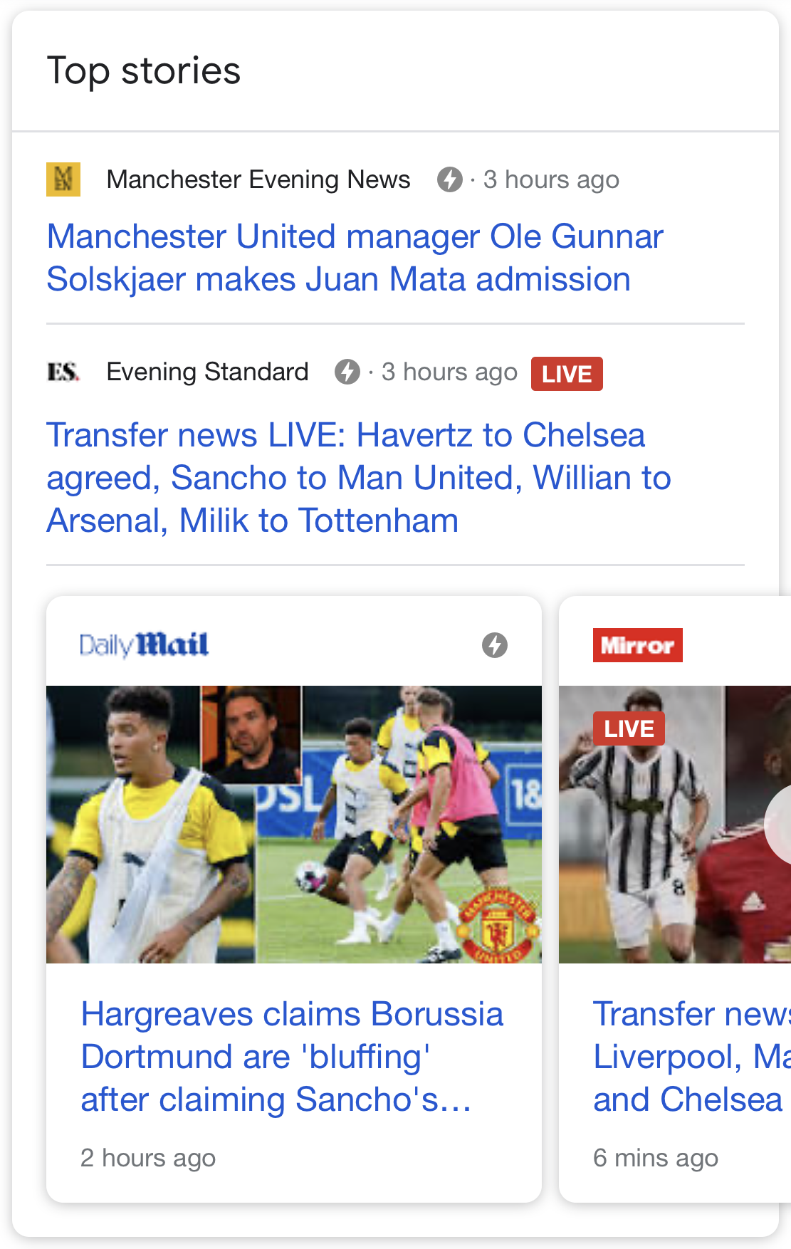 Top Stories Rich Snippet in SERP.