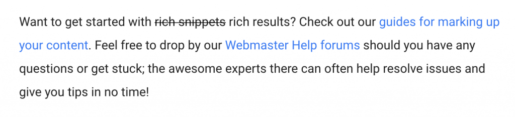 Google Webmaster Central article naming convention as Rich Results.