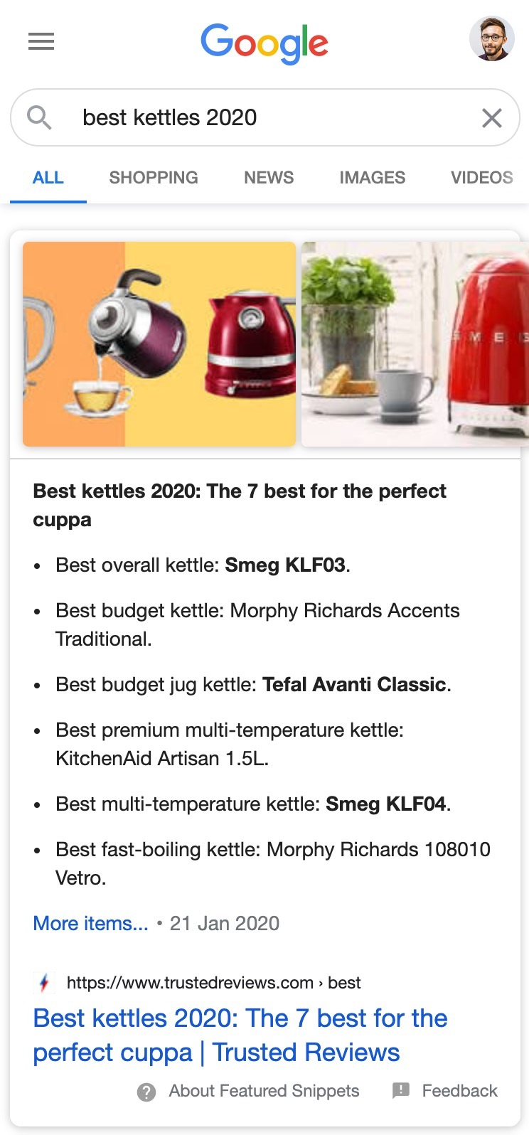 Grid images in featured snippet example