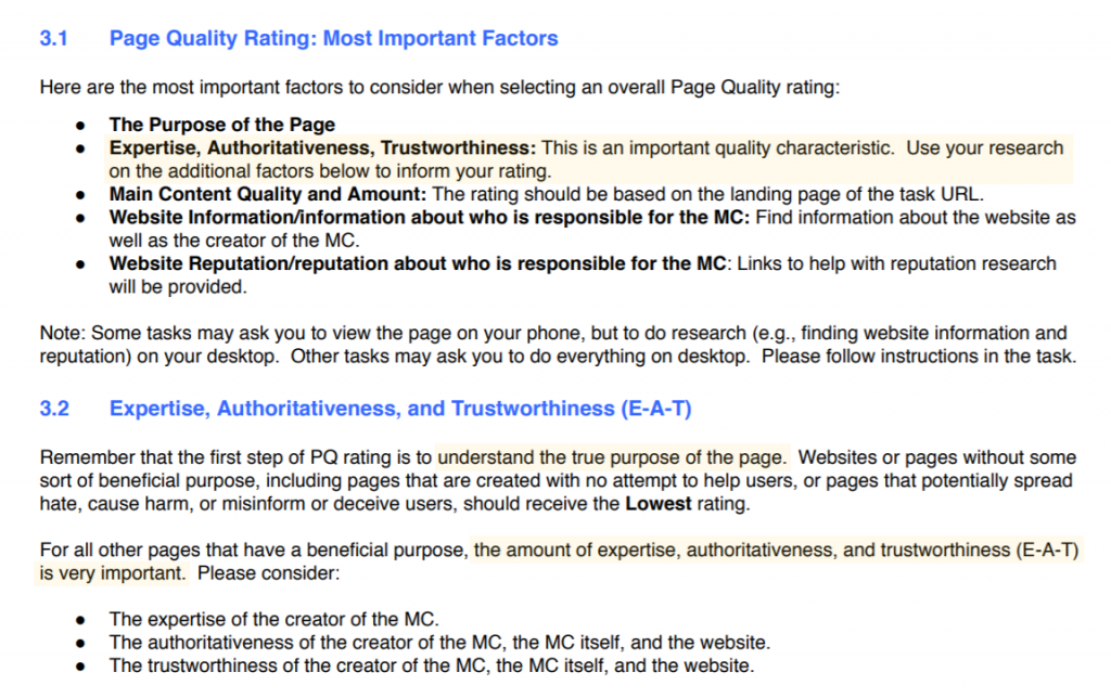 Screenshot with Google's Quality Rater Guidelines