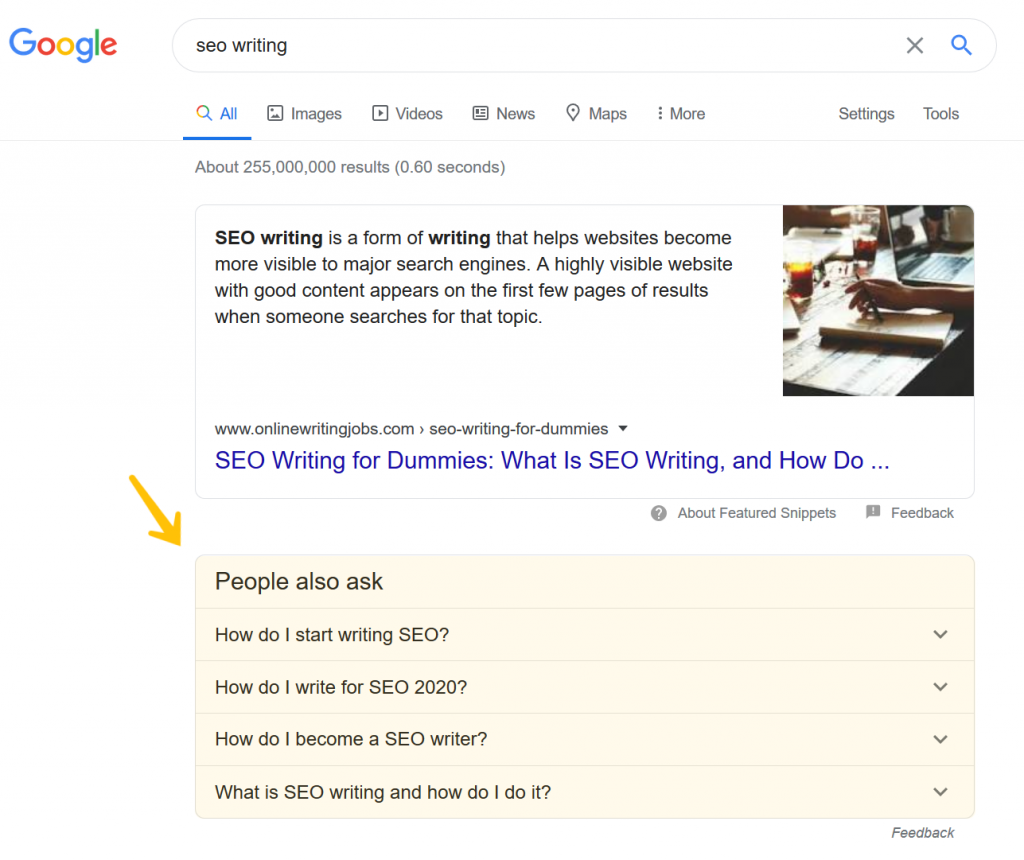 SERP screenshot for SEO writing with people also ask questions highlighted