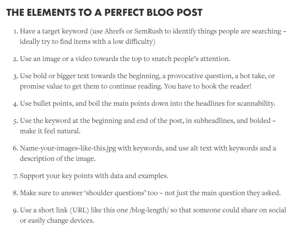 Screenshot highlighting elements of a perfect blog post
