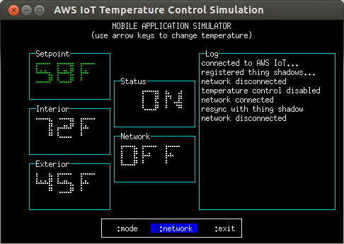 temperature-control.js, 'mobile application' mode, network disconnected