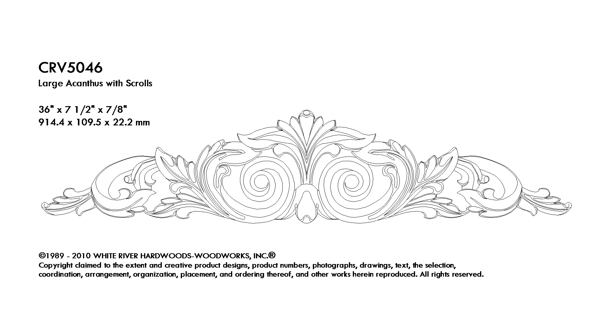 Large Acanthus With Scrolls 36 W X 7 1 2 H X 7 8 D Mouldings Com