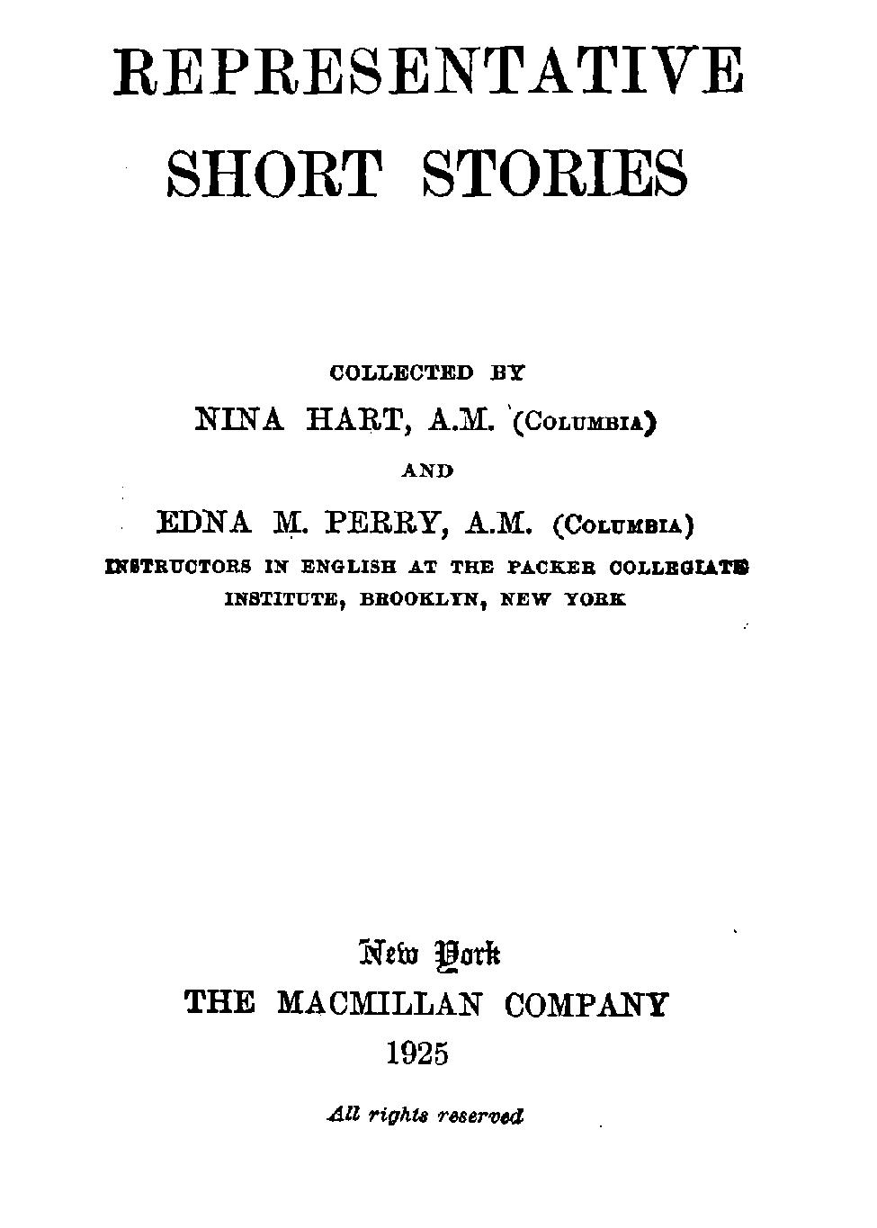 Representative Short Stories Collected By Nina Hart And Edna Perry
