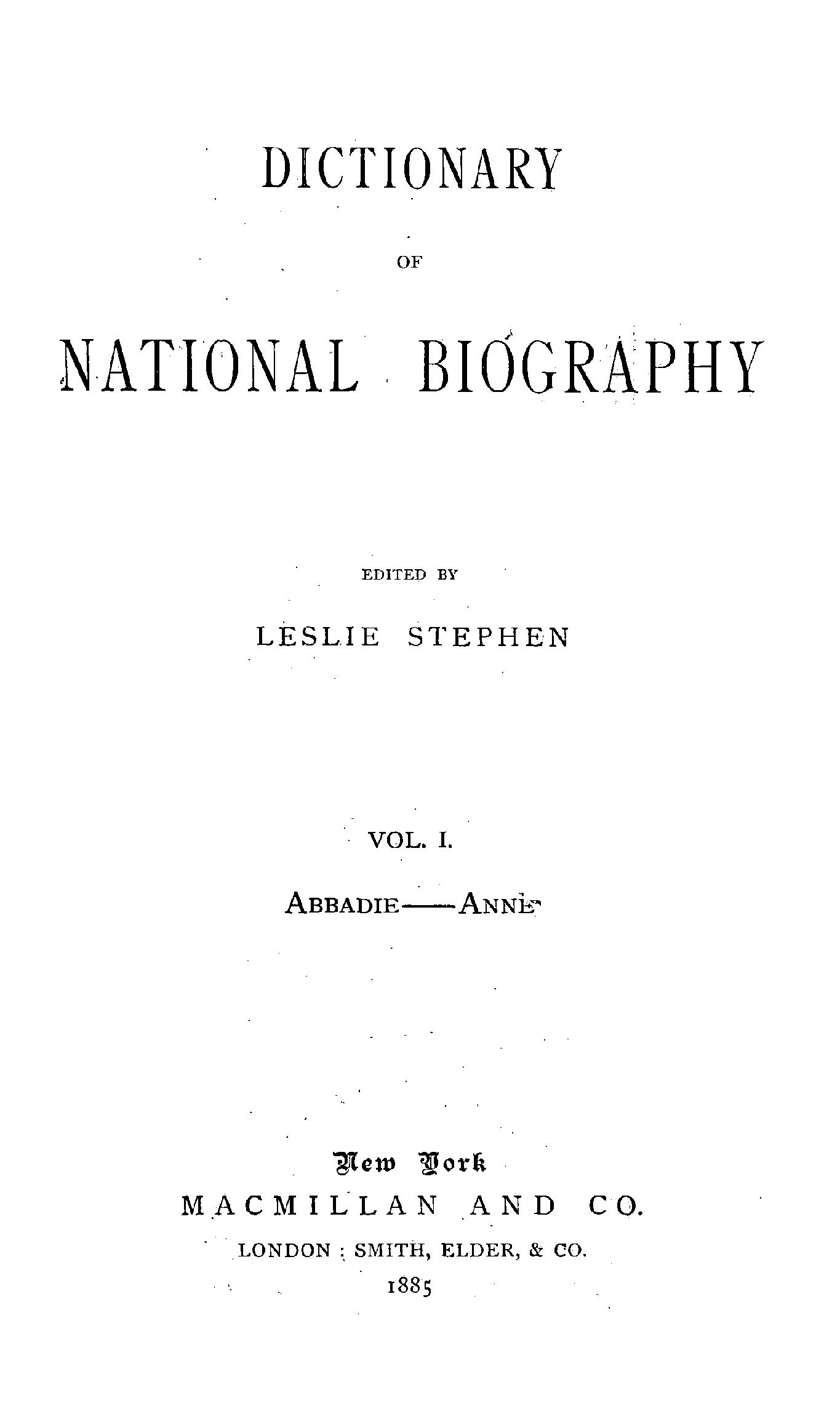 Peachy Dictionary Of National Biography Vol I Abbadie Anne Dailytribune Chair Design For Home Dailytribuneorg
