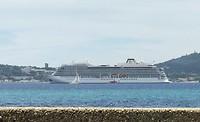 Cruiseschip voor de kust