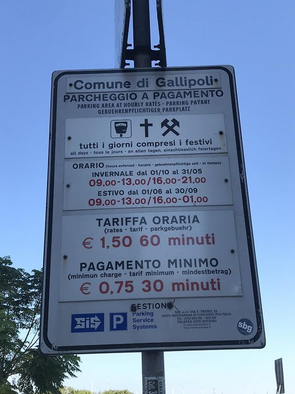 Parkeerbord Gallipoli