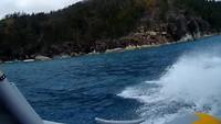 Uitzicht vanaf onze supersnelle raft boot