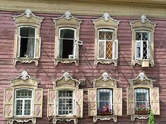 Houten huizen in oude centrum Irkutsk