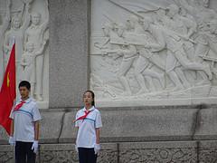 In de houding op het Tiananmenplein