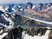 Vlucht boven Franz Josef en Fox glacier en mount Cook