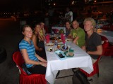 Having diner with people from my hostel, travelled around for a while with the couple  in the middle