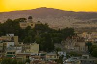 Athene bij zonsondergang