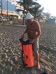 op het strand Las Canteras