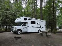 Camper ophalen en eerste dag op Camping Coquihalla aan de Fraser River in  Hope