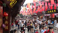 Oude wijk in Shanghai tijdens een Chinese vakantiedag.