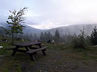 Uitzicht vanaf onze campsite in Whistler