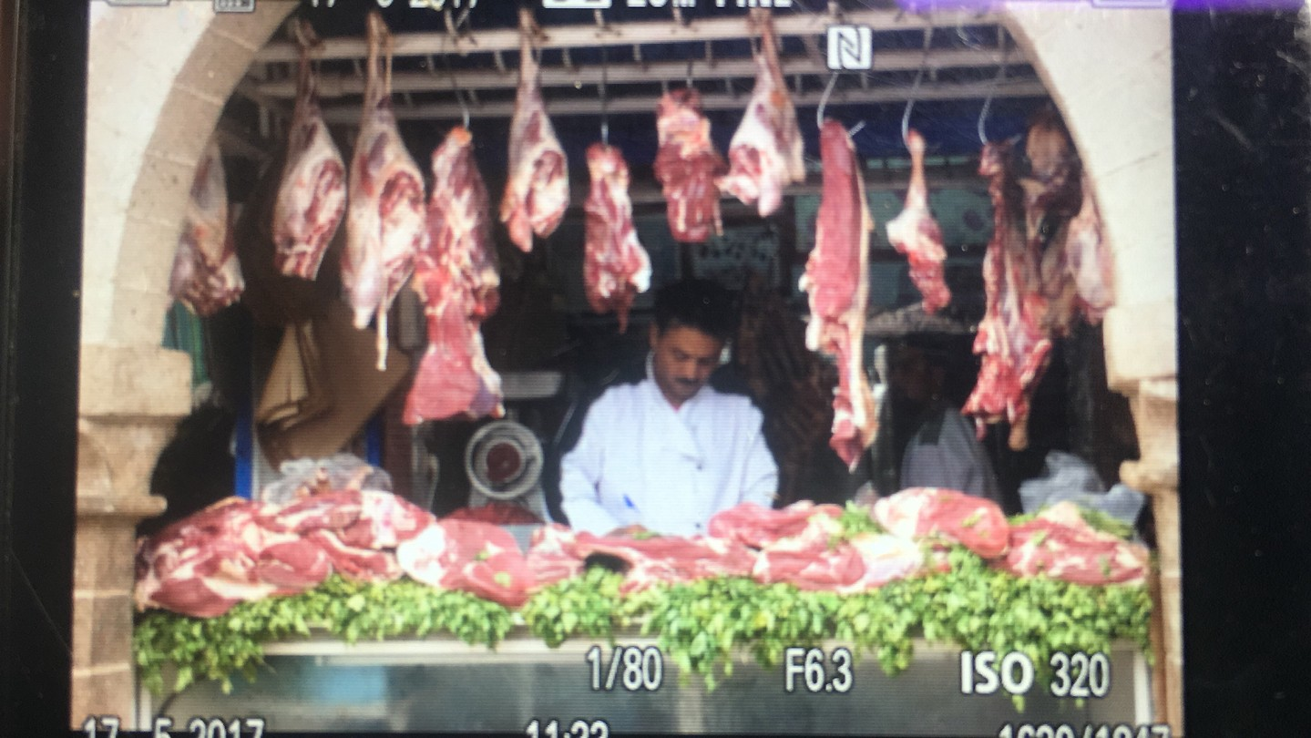 Slager in Essaouira, let op de koudebrug!