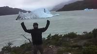Het waait in Torres del Paine, Grey lake
