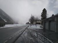 Op weg naar St Moritz op 1800 meter is het 0° en sneeuwt het