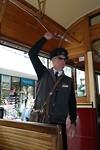 De conducteur van de tram in Christchurch