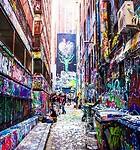 Street Art Graffiti in Hosier Lane - Melbourne.