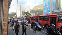 Verkeersdrukte in het centrum van Bogota.