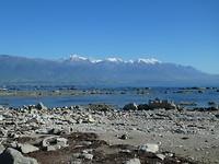 Uitzicht bij Kaikoura Bay tijdens ons ontbijt